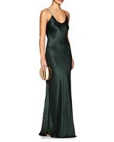 long green silk fall wedding guest dress