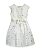 white and gold flower girl dress
