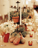 Eggplant and Artichoke Wedding Centerpiece