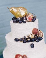 White Wedding Cake with Gold Gilded Fruit