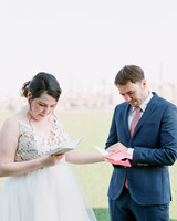 bride groom reading letters