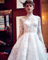 isabelle armstrong wedding dress fall 2018 high neck lace long sleeves ball gown