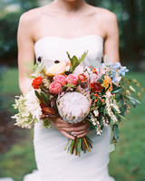 colorful wedding bouquet with king protea