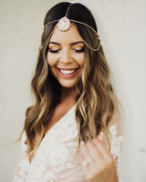 middle part hairstyles bride wearing gold hair chain