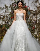 strapless semi-sweetheart corset exposed boning lace tulle Morilee by Madeline Gardner Spring 2020