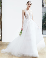 v-neck tulle Oscar de la Renta Spring 2018 Wedding Dress Collection