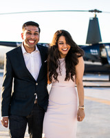 outdoor engagement photo with helicopter