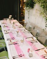 pink bridal shower table runner
