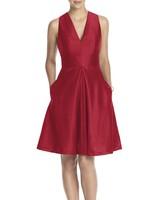 red bridesmaid dress alfred sung v-neck dupioni