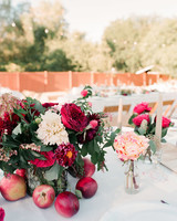red floral apple centerpiece