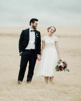 short wedding dress couple standing field