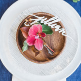 Place Setting with Orchid and Laser-Cut Wooden Name