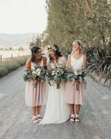 two piece bridesmaids bespoke photography blush