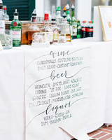 wedding bar sign menu paper alcohol table