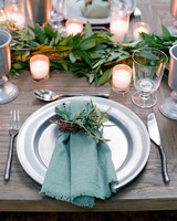 whitney zach rehearsal dinner place setting greens