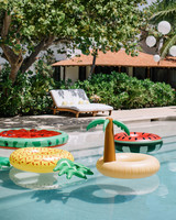 ariel trevor wedding tulum mexico pool party fruit