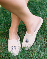 bee wedding ideas slippers in the grass