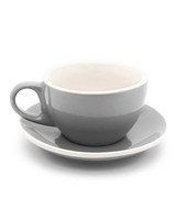 grey cappuccino cup with saucer