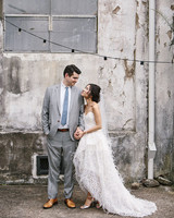wedding couple portrait concrete wall