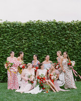 colleen stephen newport wedding bride with bridesmaids with hedge in background