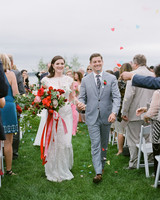 colleen stephen newport wedding recessional with colorful confetti