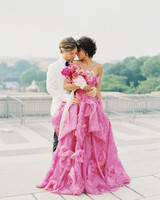 hot pink ball gown with floral details