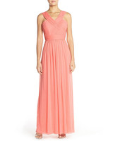 coral bridesmaid dress alfred sung shirred vneck