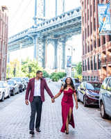 destination engagement couple Manhattan cobblestone streets
