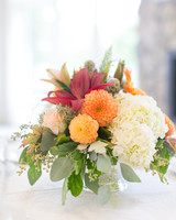 Fall-Hued Centerpiece with Dahlias and Hydrangeas