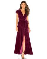 burgundy velvet fall wedding guest dress