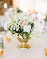 glamorous wedding ideas gold vessel floral arrangement