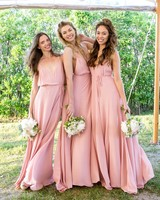 bridesmaids pink gowns