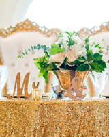 kenisha wendall wedding sweetheart table flowers Mrs. Mr.