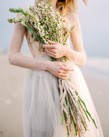 extremely long stemmed wedding bouquet arrangement