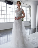 marchesa spring 2018 lace and tulle wedding dress with floral applique details