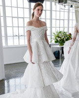 marchesa spring 2018 off-the-shoulder wedding dress with three-tiered skirt