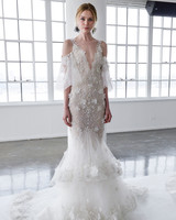 marchesa spring 2018 mermaid wedding dress with a deep v-neckline