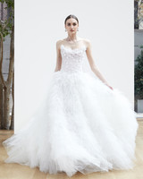 strapless embellishment ball gown Oscar de la Renta Spring 2018 Wedding Dress Collection