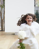 flower girl with shawl Oscar de la Renta Spring 2018 Wedding Dress Collection
