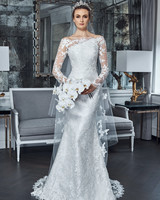 romona keveza collection wedding dress spring 2019 long sleeves lace off the shoulder