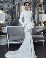 romona keveza collection wedding dress spring 2019 trumpet high neck long sleeves