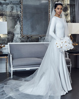 romona keveza collection wedding dress spring 2019 high neck long sleeves sheet train