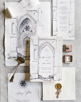 black-and-white, deckle-edged stationary suite