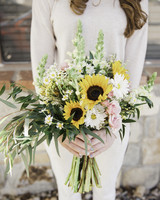 sunflower bouquet with pink flowers