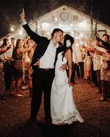 timeless wedding photos couple sparklers send off
