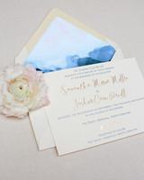 wedding invitation with blue envelope liner