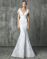 Victoria Kyriakides Short Sleeve Mermaid Wedding Dress Fall 2018