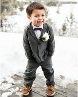 winter wedding guest attire boy in flannel suit