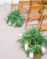 fern and moss aisle decoration