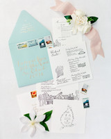 Black and White Invitation Suite with Robin's Egg Blue Envelope